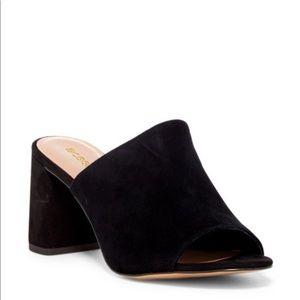 bcbg suede beverly black open toe mule heel